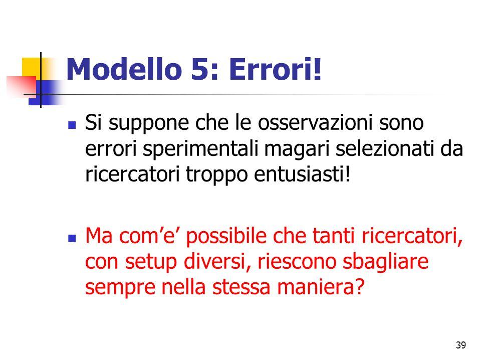Modello 5: Errori! Si suppone che le osservazioni sono errori sperimentali magari selezionati da ricercatori troppo entusiasti!