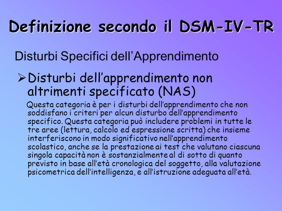 Definizione secondo il DSM-IV-TR