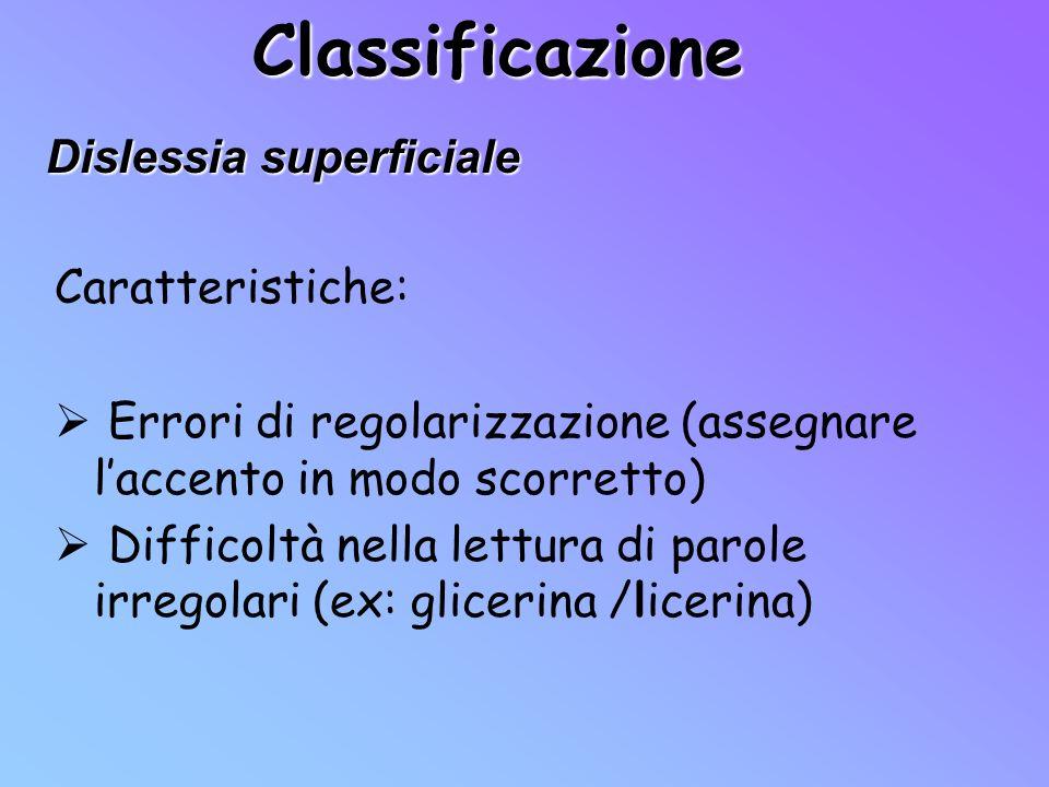 Classificazione Dislessia superficiale Caratteristiche: