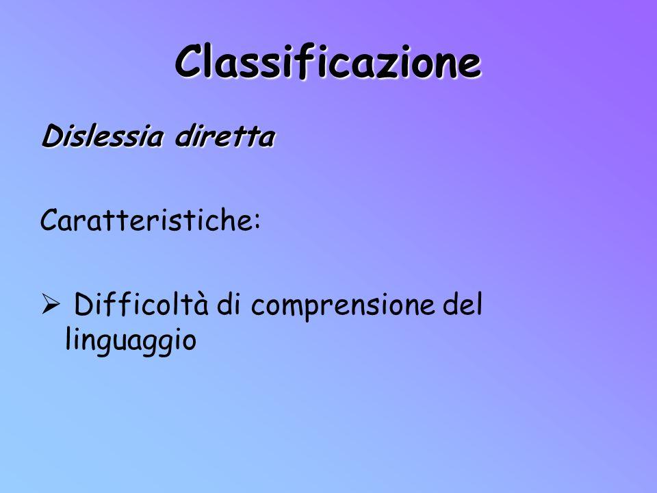 Classificazione Dislessia diretta Caratteristiche: