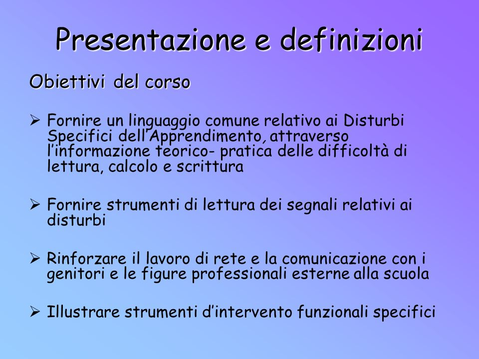 Presentazione e definizioni