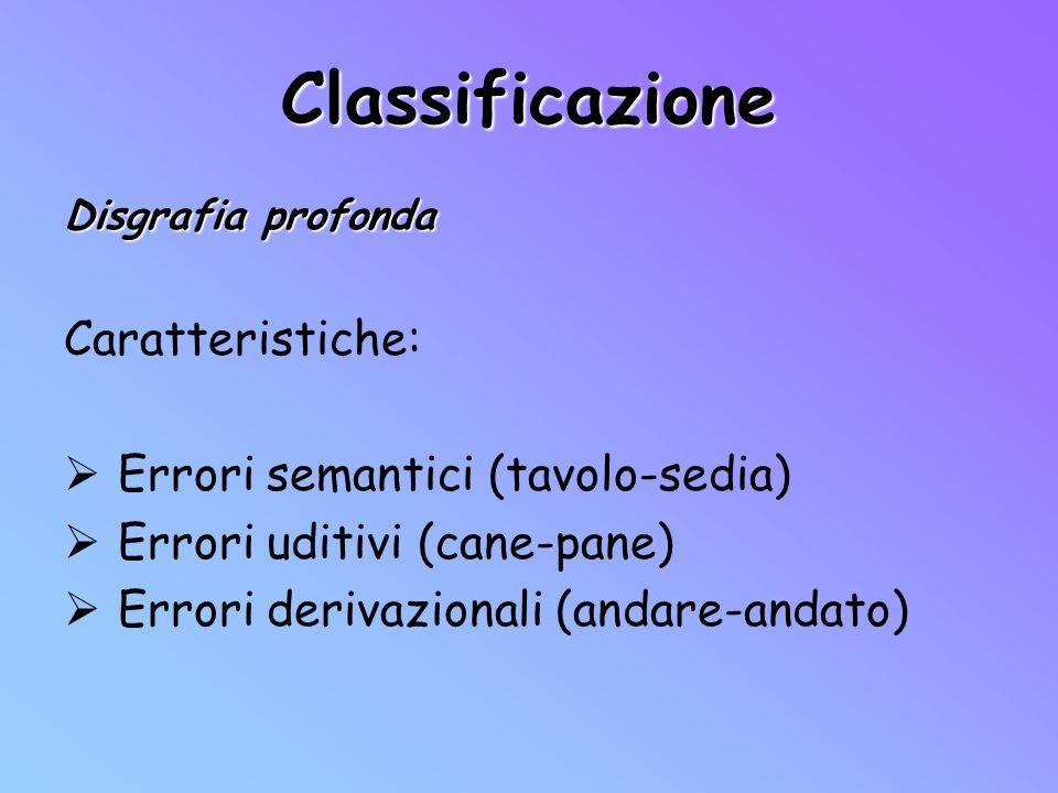 Classificazione Caratteristiche: Errori semantici (tavolo-sedia)