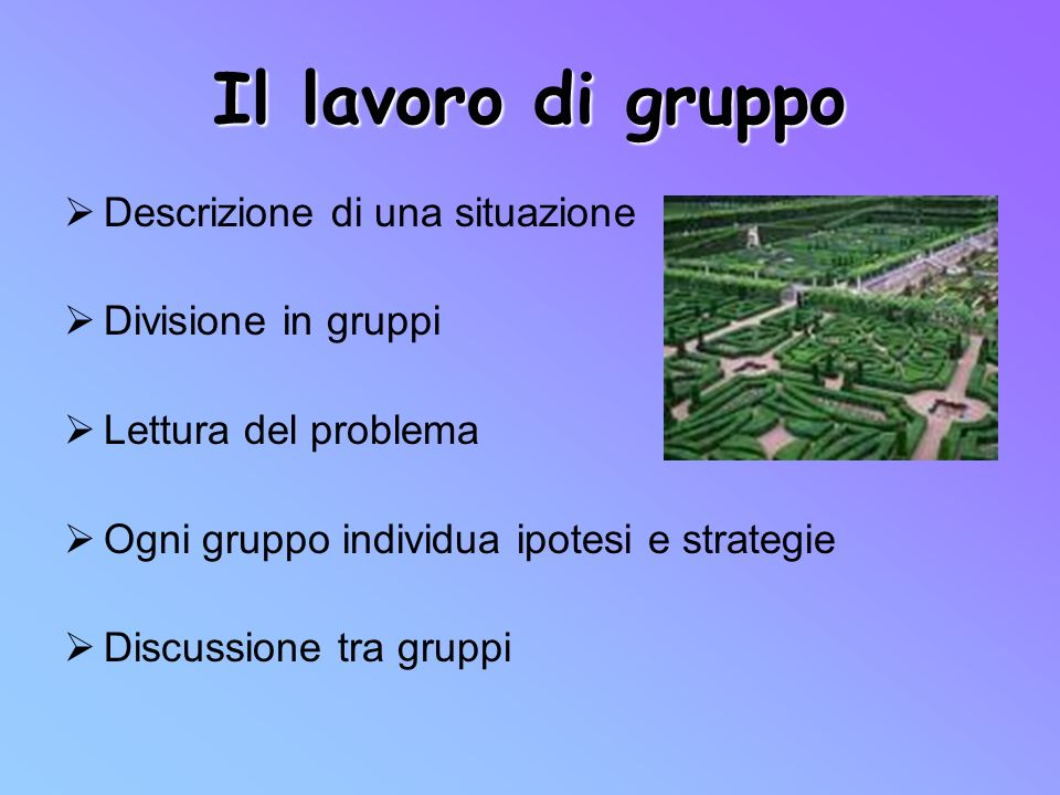 Il lavoro di gruppo Descrizione di una situazione Divisione in gruppi