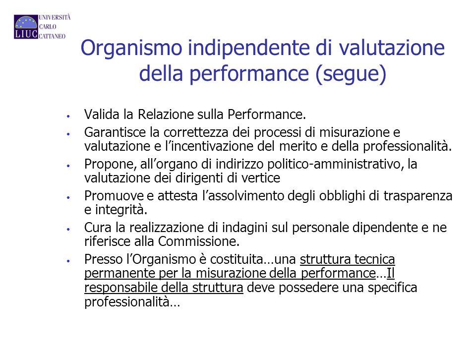 Organismo indipendente di valutazione della performance (segue)