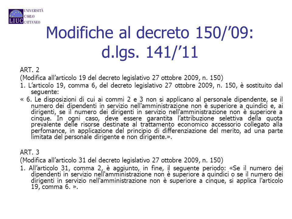 Modifiche al decreto 150/'09: d.lgs. 141/'11