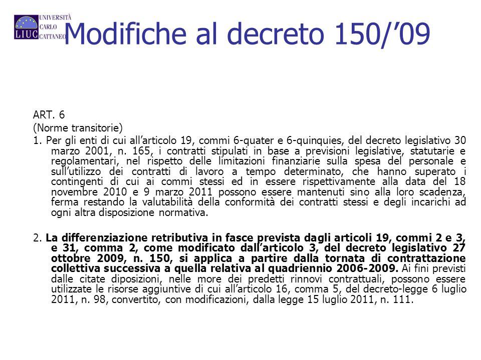Modifiche al decreto 150/'09