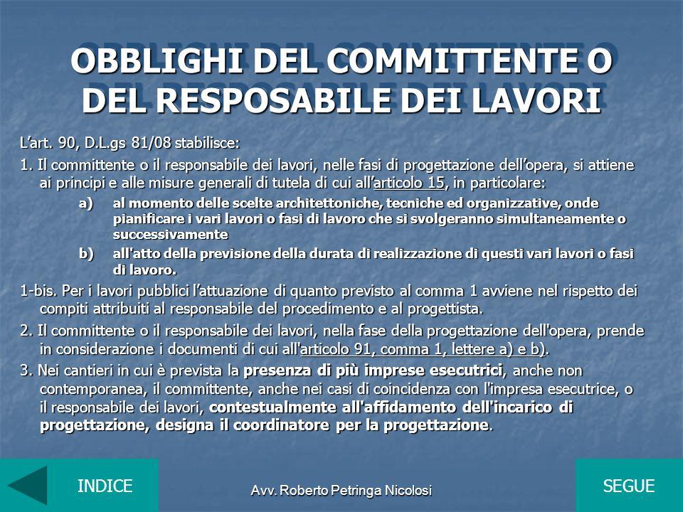 OBBLIGHI DEL COMMITTENTE O DEL RESPOSABILE DEI LAVORI