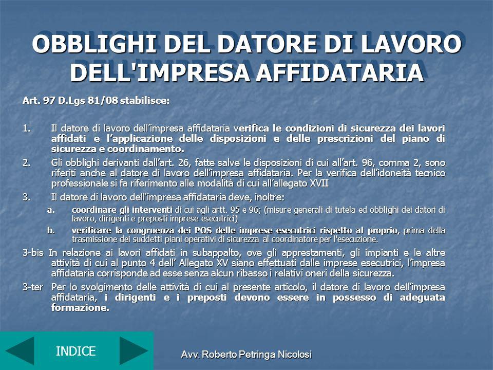 OBBLIGHI DEL DATORE DI LAVORO DELL IMPRESA AFFIDATARIA