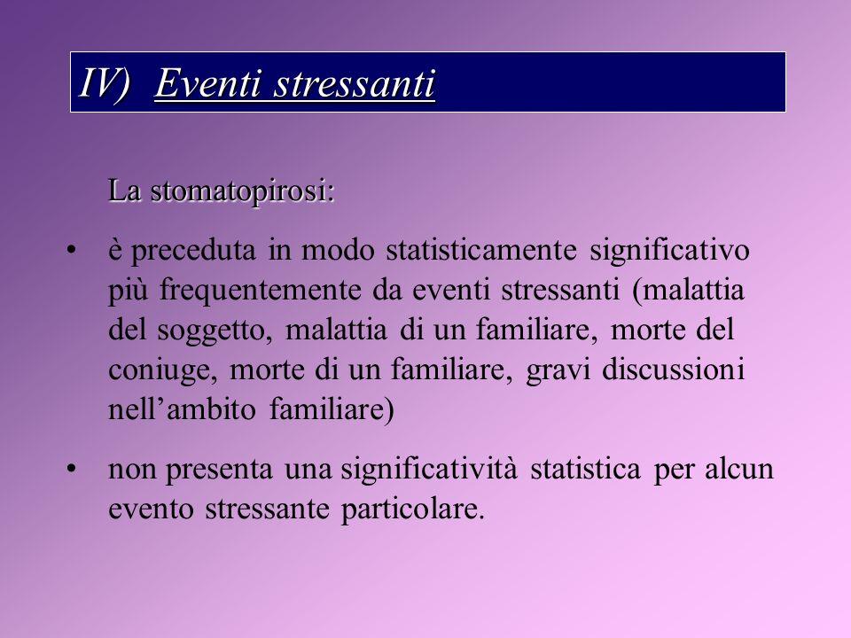IV) Eventi stressanti La stomatopirosi: