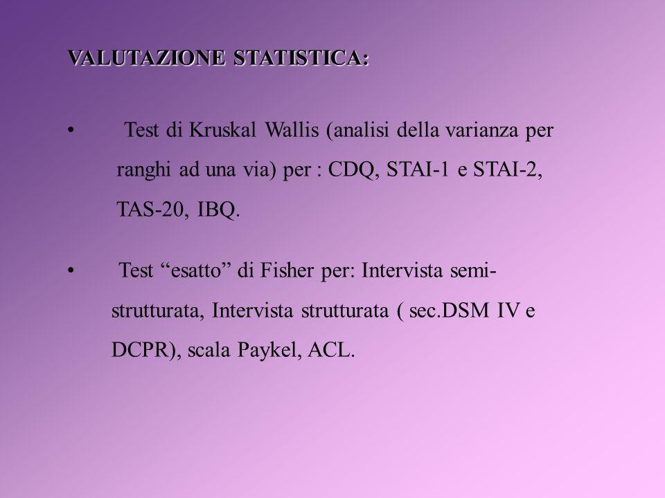 VALUTAZIONE STATISTICA: