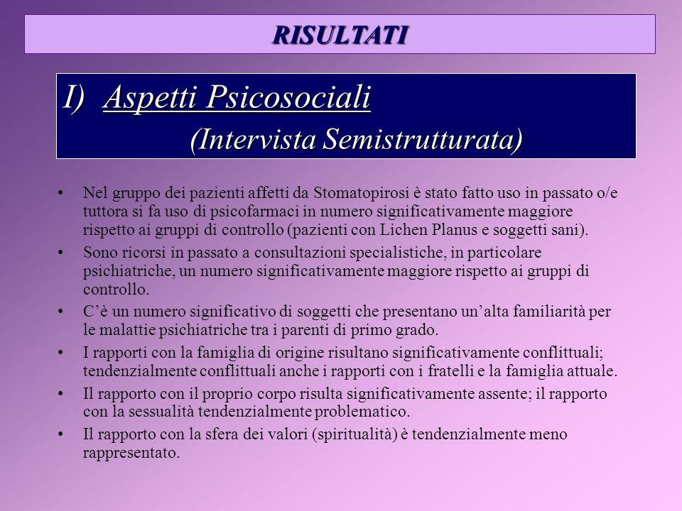 I) Aspetti Psicosociali (Intervista Semistrutturata)