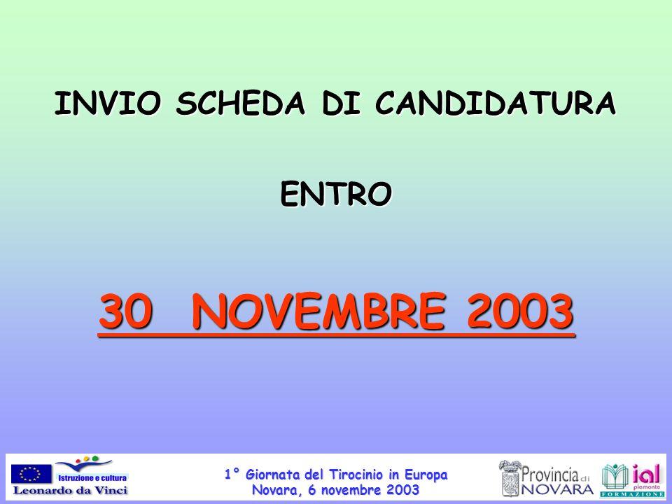 INVIO SCHEDA DI CANDIDATURA
