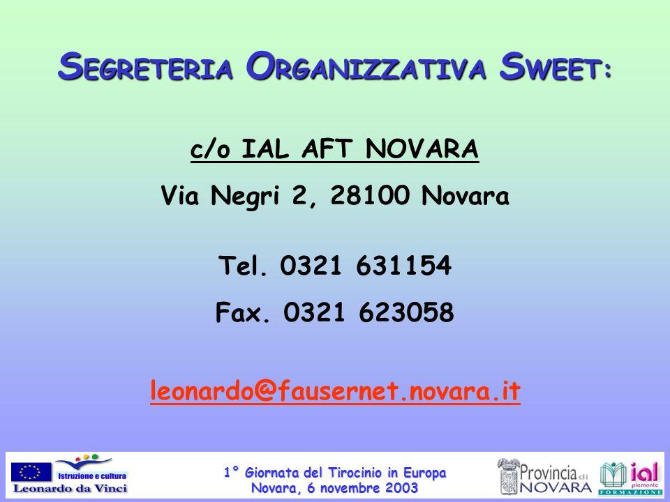 SEGRETERIA ORGANIZZATIVA SWEET: