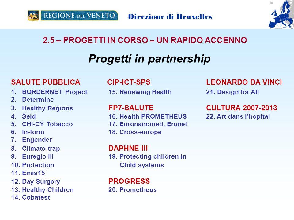 2.5 – PROGETTI IN CORSO – UN RAPIDO ACCENNO Progetti in partnership