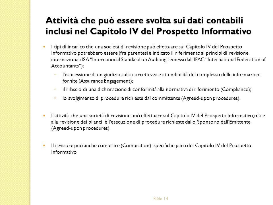 Attività che può essere svolta sui dati contabili inclusi nel Capitolo IV del Prospetto Informativo