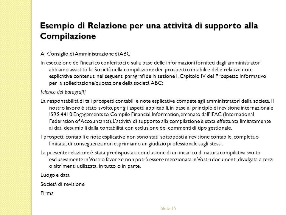 Esempio di Relazione per una attività di supporto alla Compilazione