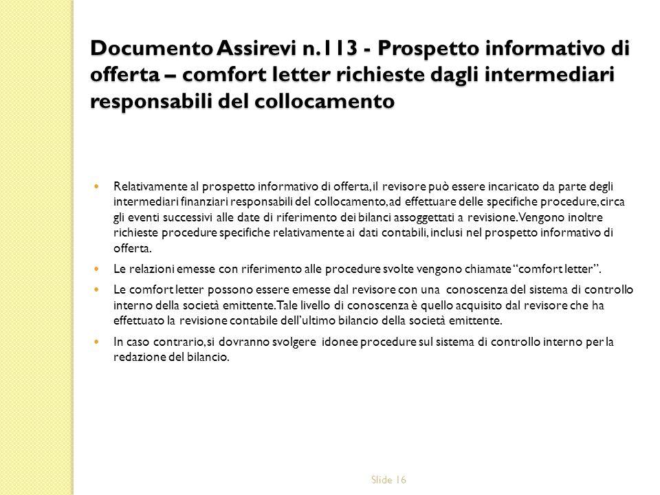 Documento Assirevi n.113 - Prospetto informativo di offerta – comfort letter richieste dagli intermediari responsabili del collocamento