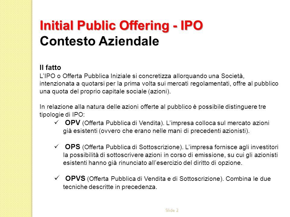 Initial Public Offering - IPO Contesto Aziendale
