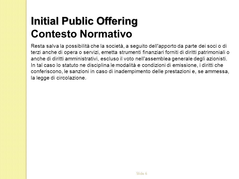 Initial Public Offering Contesto Normativo