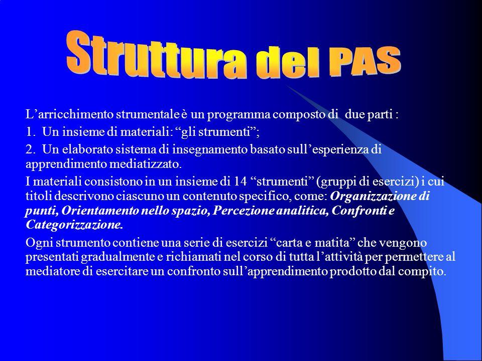 Struttura del PAS L'arricchimento strumentale è un programma composto di due parti : Un insieme di materiali: gli strumenti ;