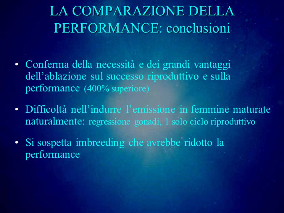 LA COMPARAZIONE DELLA PERFORMANCE: conclusioni