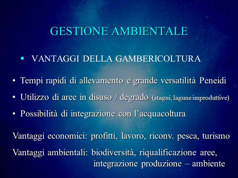 GESTIONE AMBIENTALE VANTAGGI DELLA GAMBERICOLTURA