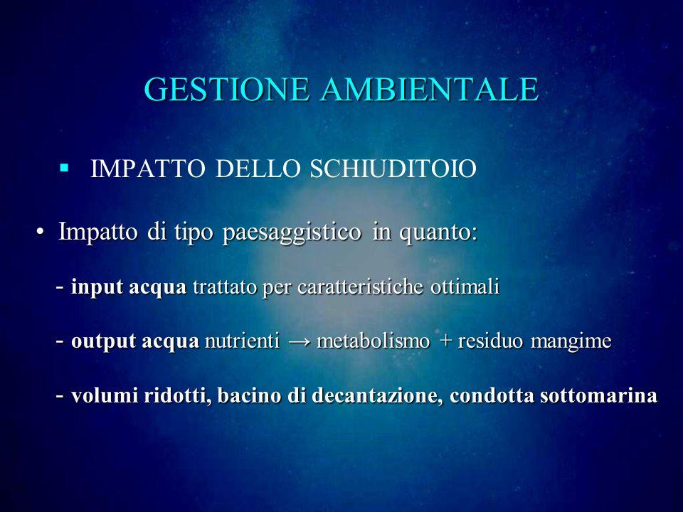 GESTIONE AMBIENTALE IMPATTO DELLO SCHIUDITOIO
