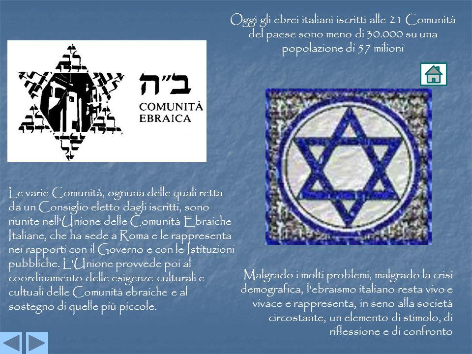 Oggi gli ebrei italiani iscritti alle 21 Comunità del paese sono meno di 30.000 su una popolazione di 57 milioni