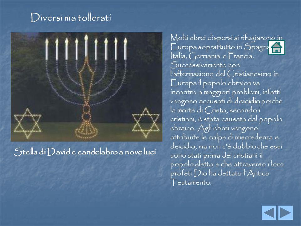 Diversi ma tollerati Stella di David e candelabro a nove luci