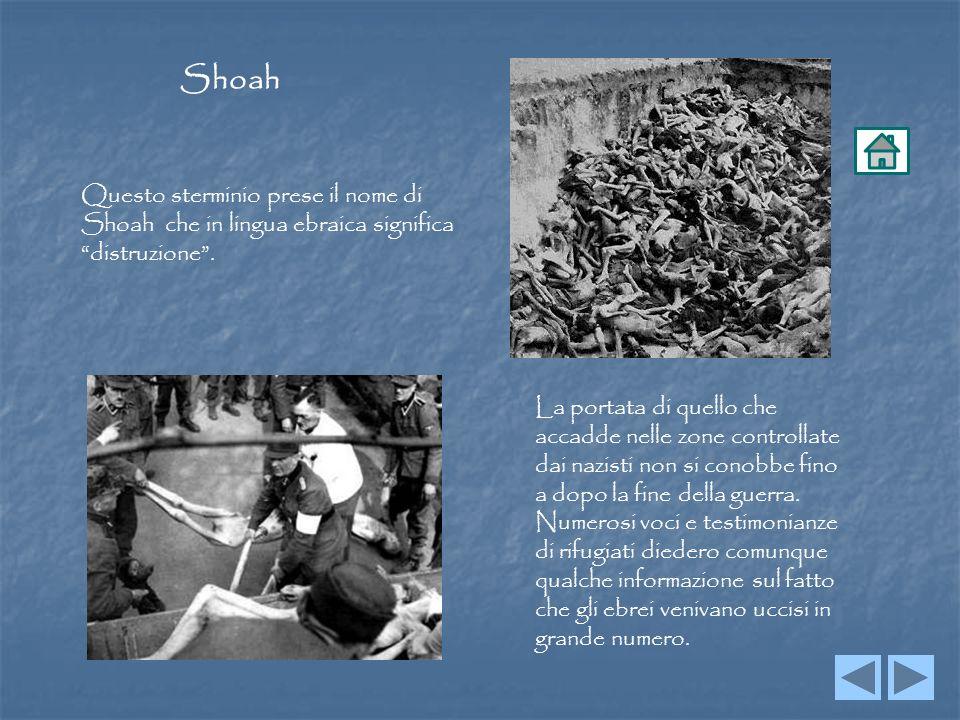 Shoah Questo sterminio prese il nome di Shoah che in lingua ebraica significa distruzione .