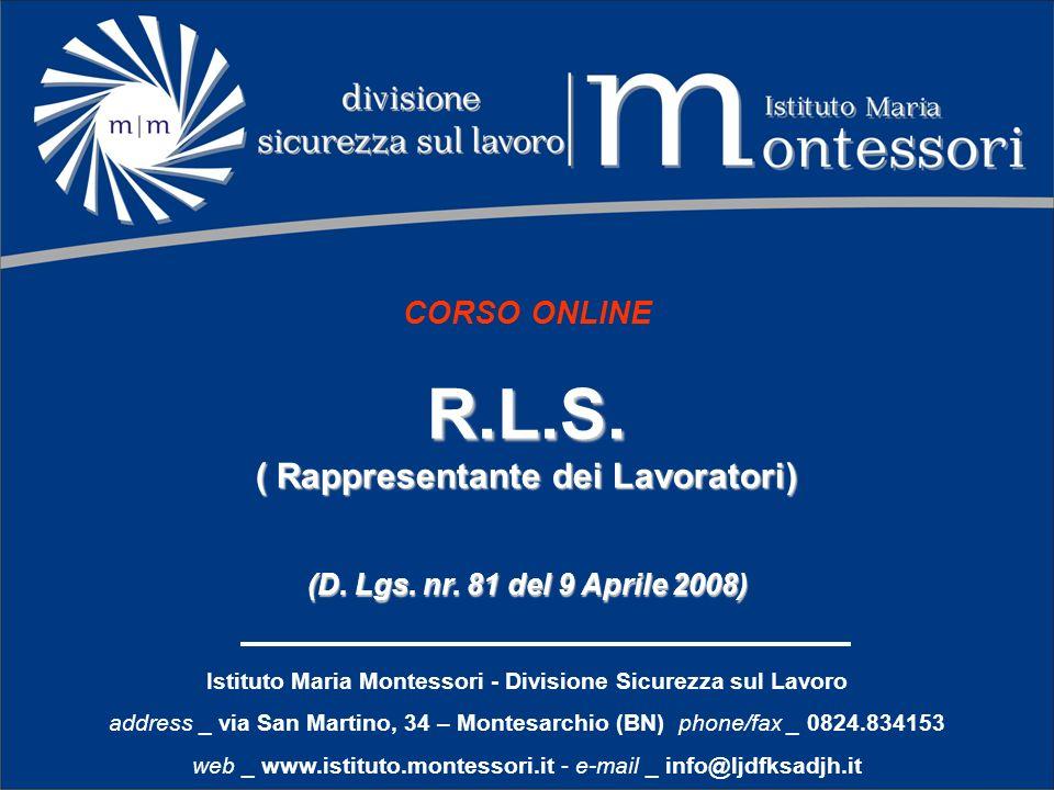 R.L.S. ( Rappresentante dei Lavoratori) CORSO ONLINE
