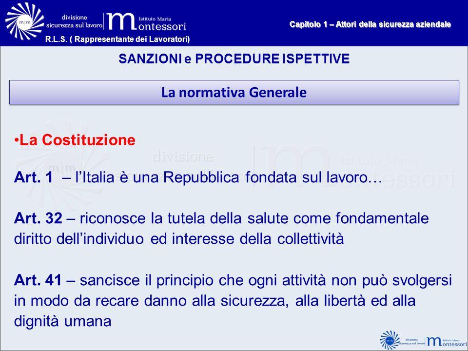 Art. 1 – l'Italia è una Repubblica fondata sul lavoro…