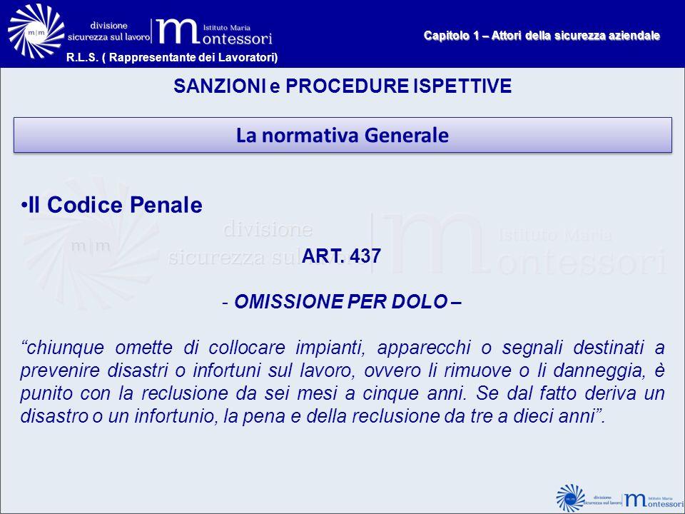 La normativa Generale Il Codice Penale SANZIONI e PROCEDURE ISPETTIVE