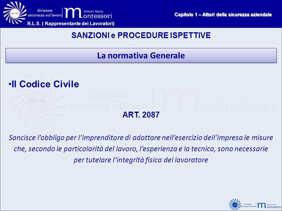 La normativa Generale Il Codice Civile SANZIONI e PROCEDURE ISPETTIVE
