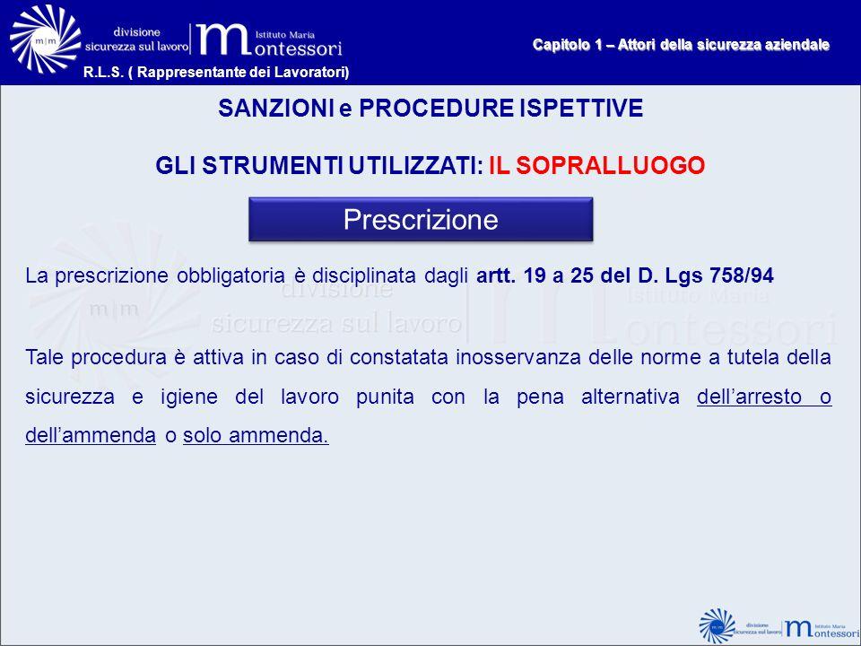 Prescrizione SANZIONI e PROCEDURE ISPETTIVE