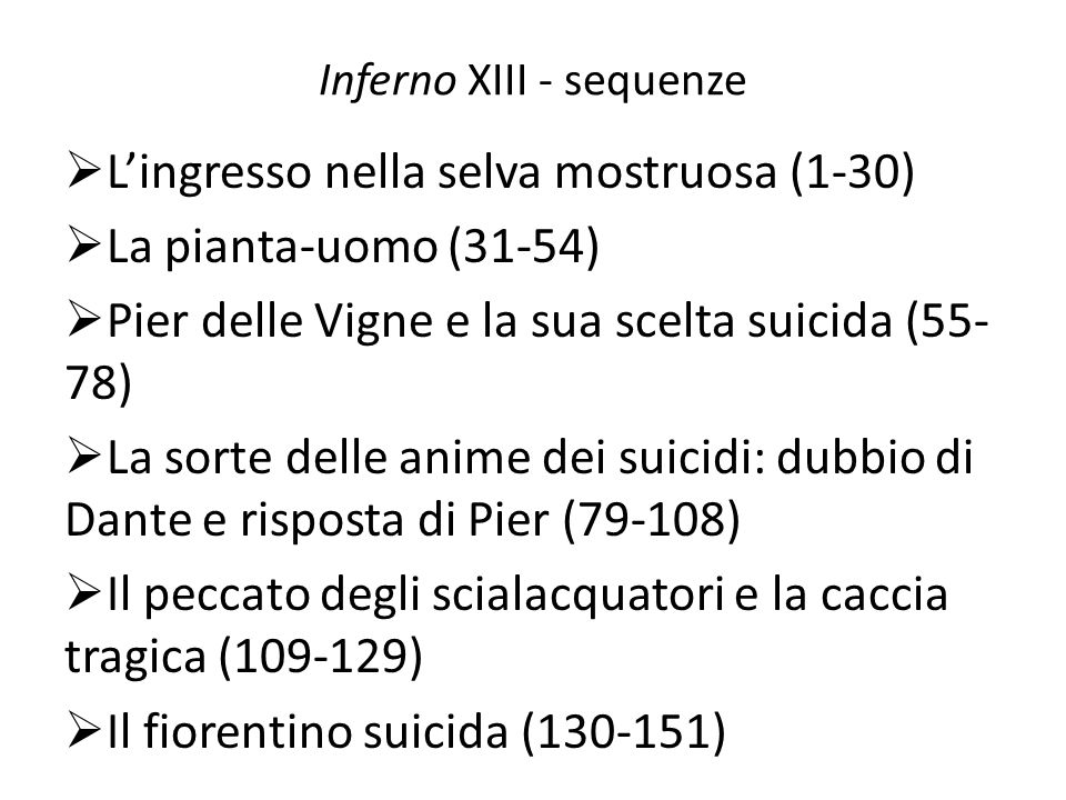 Inferno XIII - sequenze