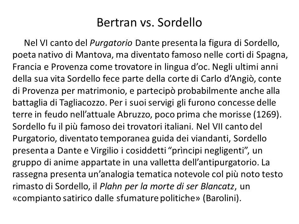 Bertran vs. Sordello