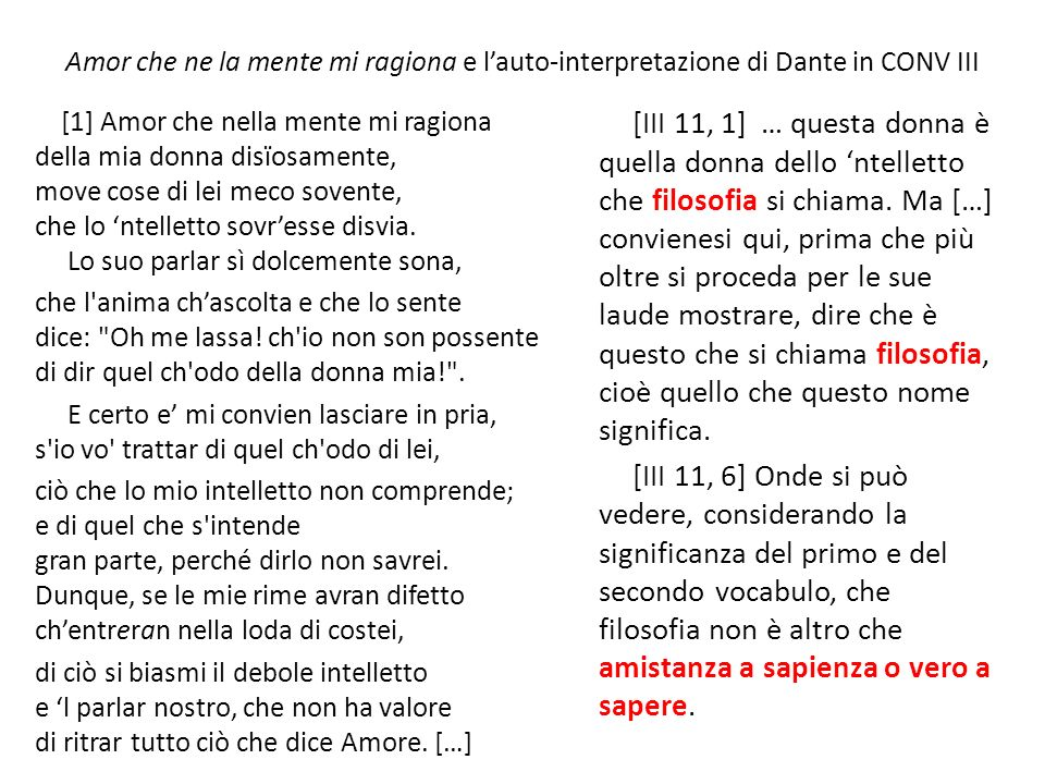 Amor che ne la mente mi ragiona e l'auto-interpretazione di Dante in CONV III