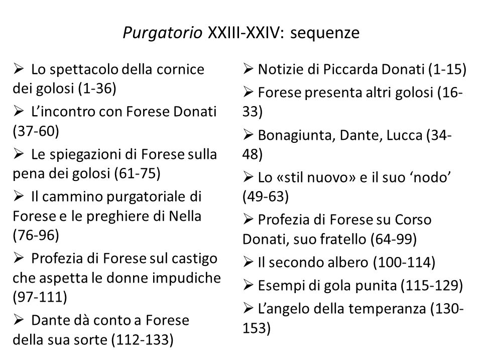 Purgatorio XXIII-XXIV: sequenze
