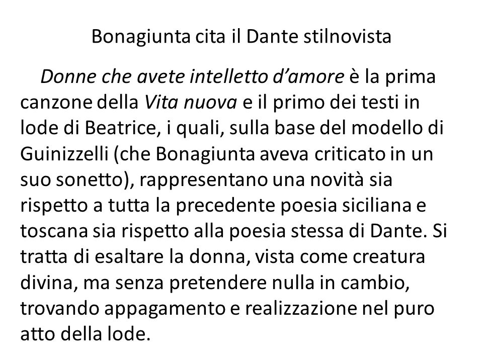 Bonagiunta cita il Dante stilnovista