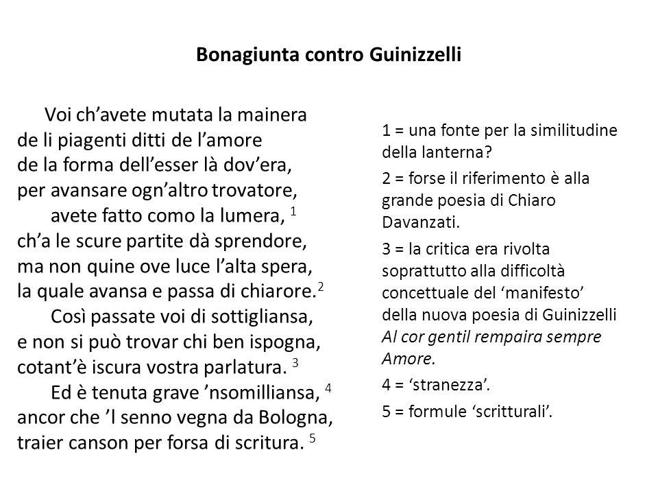 Bonagiunta contro Guinizzelli