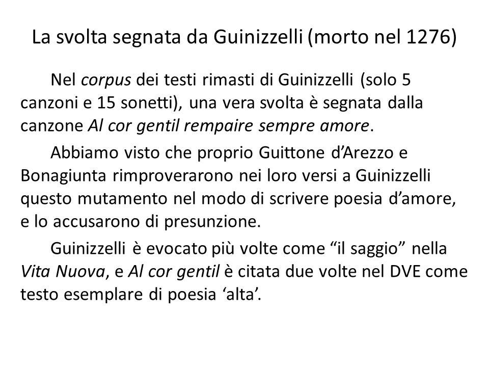 La svolta segnata da Guinizzelli (morto nel 1276)