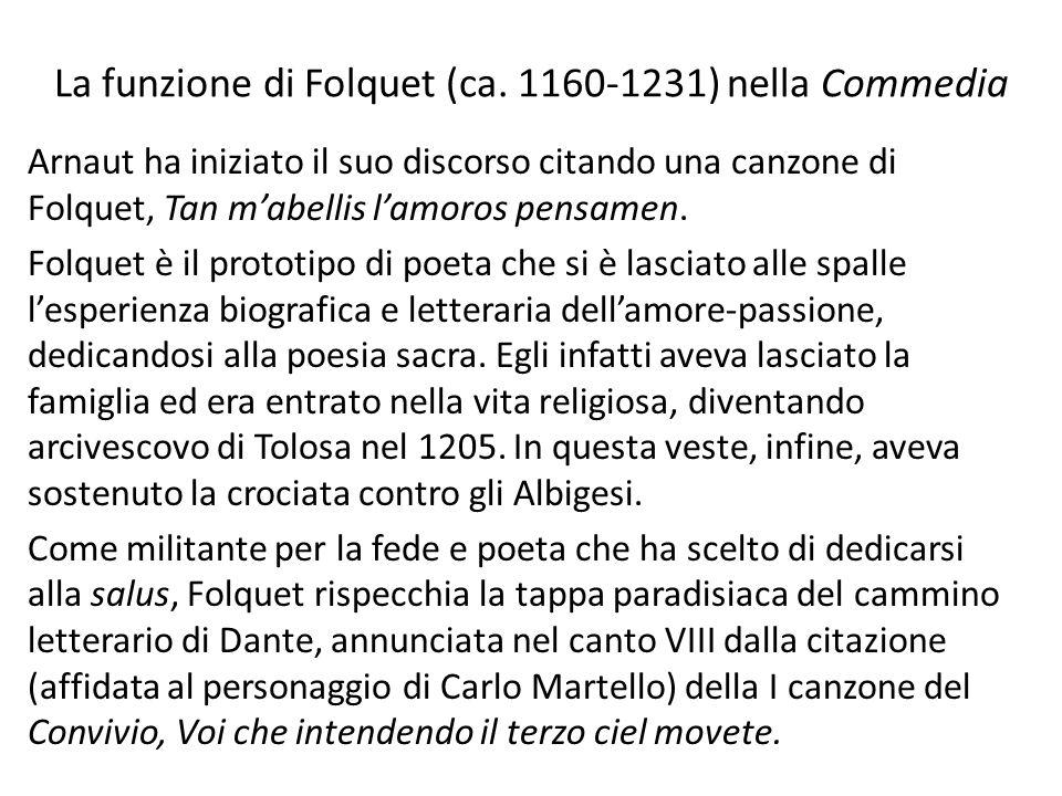 La funzione di Folquet (ca. 1160-1231) nella Commedia