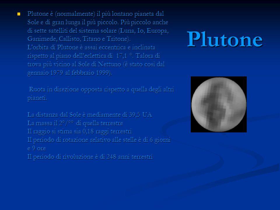 Plutone è (normalmente) il più lontano pianeta dal Sole e di gran lunga il più piccolo. Più piccolo anche di sette satelliti del sistema solare (Luna, Io, Europa, Ganimede, Callisto, Titano e Tritone). L orbita di Plutone è assai eccentrica e inclinata rispetto al piano dell'eclettica di 17,1 °. Talora di trova più vicino al Sole di Nettuno (è stato così dal gennaio 1979 al febbraio 1999). Ruota in direzione opposta rispetto a quella degli altri pianeti. La distanza dal Sole è mediamente di 39,5 UA La massa il 2°/°° di quella terrestre Il raggio si stima sia 0,18 raggi terrestri Il periodo di rotazione relativo alle stelle è di 6 giorni e 9 ore Il periodo di rivoluzione è di 248 anni terrestri