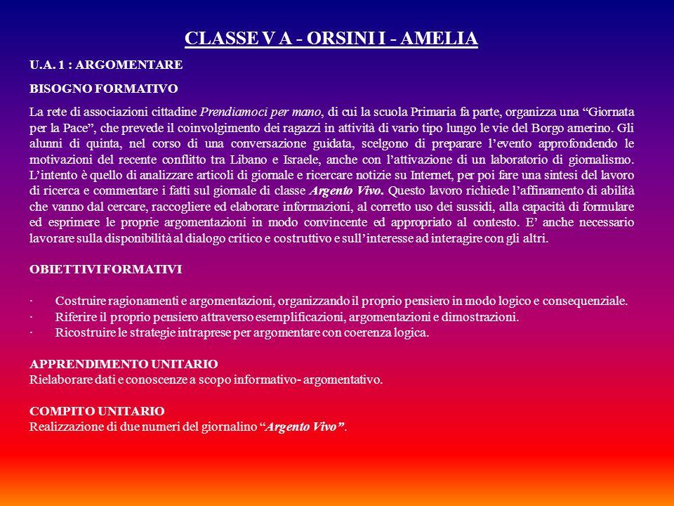 CLASSE V A - ORSINI I - AMELIA
