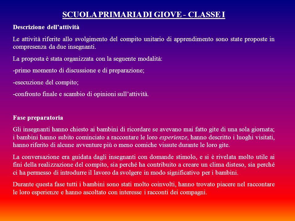 SCUOLA PRIMARIA DI GIOVE - CLASSE I