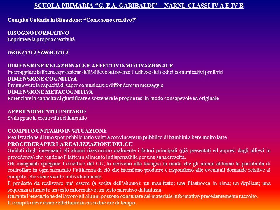 SCUOLA PRIMARIA G. E A. GARIBALDI – NARNI. CLASSI IV A E IV B