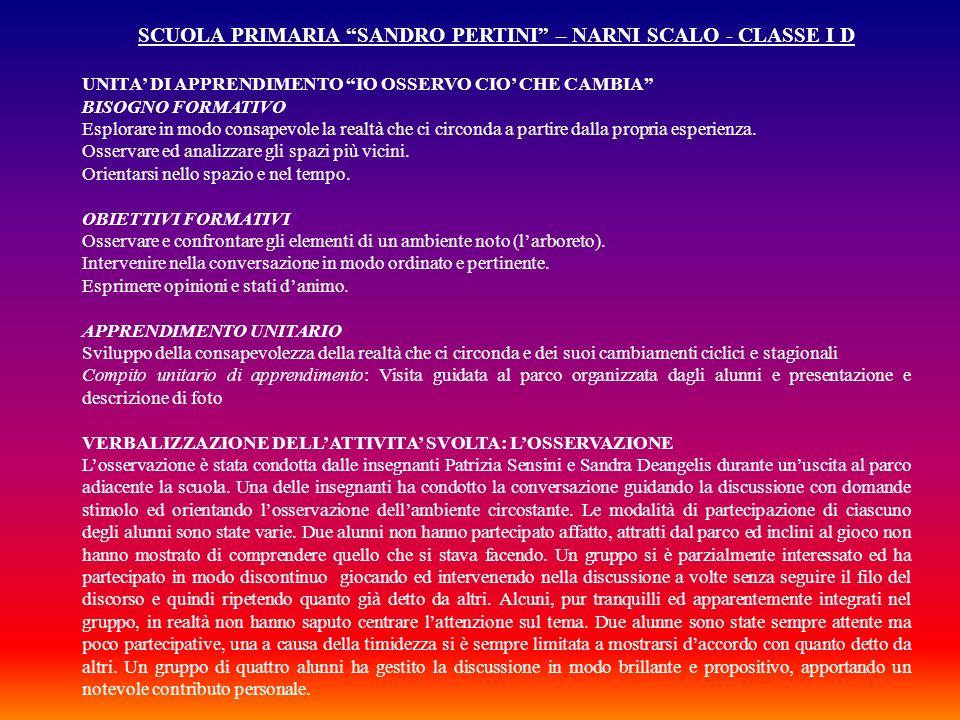 SCUOLA PRIMARIA SANDRO PERTINI – NARNI SCALO - CLASSE I D