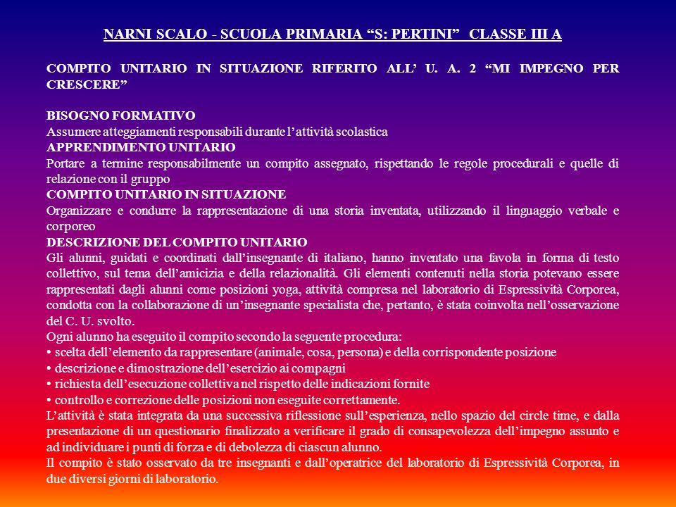 NARNI SCALO - SCUOLA PRIMARIA S: PERTINI CLASSE III A