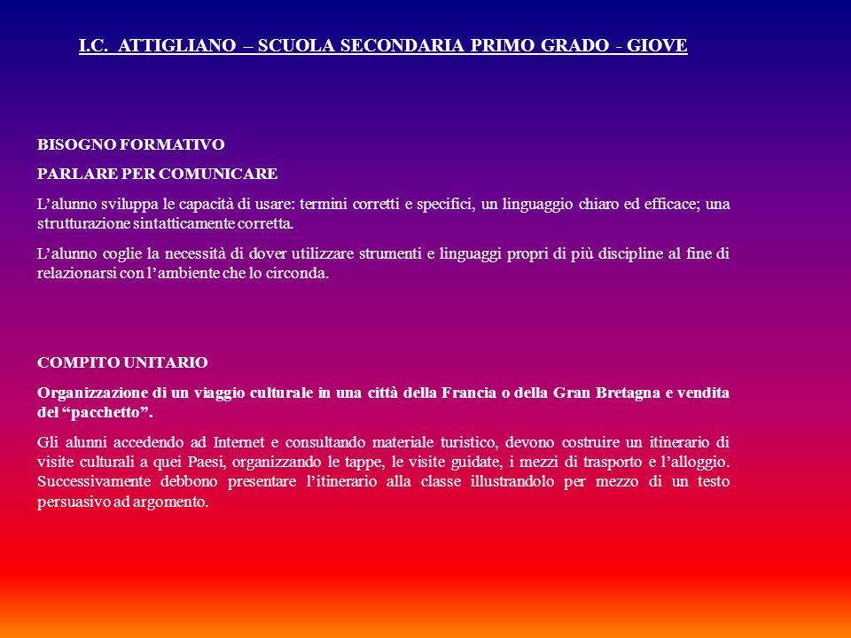 I.C. ATTIGLIANO – SCUOLA SECONDARIA PRIMO GRADO - GIOVE